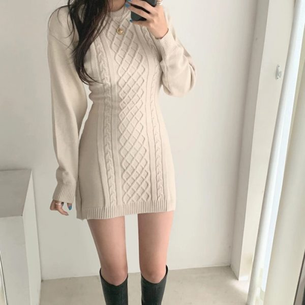 Short SoftGirl Knitted Dress - My Sweet Outfit - eGirl - SoftGirl Clothes Aesthetic - Goth - Grunge - Vintage Black - Y2k - Fashion - itGirl 2