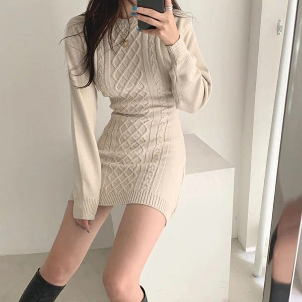 Short SoftGirl Knitted Dress - My Sweet Outfit - eGirl - SoftGirl Clothes Aesthetic - Goth - Grunge - Vintage Black - Y2k - Fashion - itGirl 4