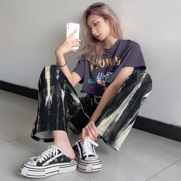 Tie-Dye Wide Drawstring Pants - My Sweet Outfit - eGirl - SoftGirl Clothes Aesthetic - Goth - Grunge - Vintage Black - Y2k - Fashion - itGirl (4)