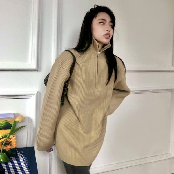 Warm Plain Sweater With Long Sleeves And Zipper - My Sweet Outfit - eGirl - SoftGirl Clothes Aesthetic - Goth - Grunge - Vintage Black - Y2k - Fashion - itGirl (1)