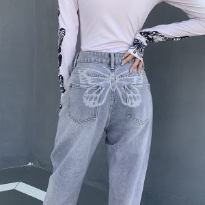 Washed Loose Butterfly Print Blue Jeans - My Sweet Outfit - eGirl - SoftGirl Clothes Aesthetic - Goth - Grunge - Vintage Black - Y2k - Fashion - itGirl 2