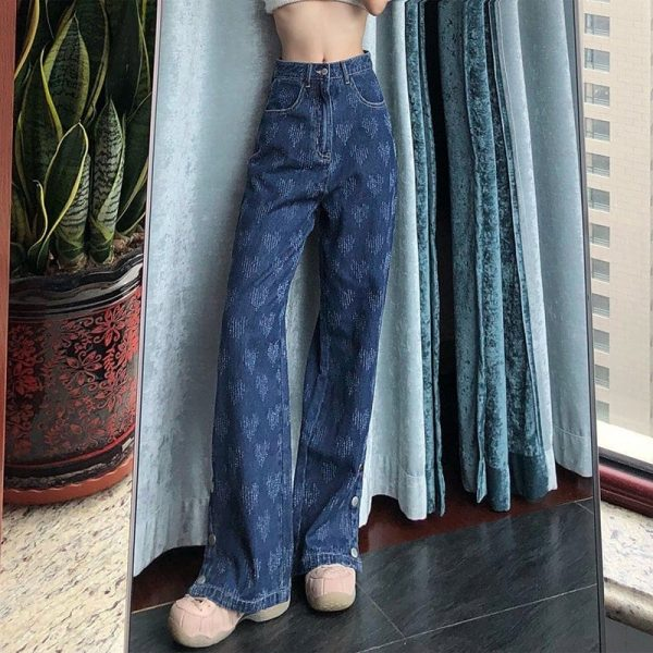 Wide Leg Embroidered Jeans - My Sweet Outfit - eGirl - SoftGirl Clothes Aesthetic - Goth - Grunge - Vintage Black - Y2k - Fashion - itGirl 1