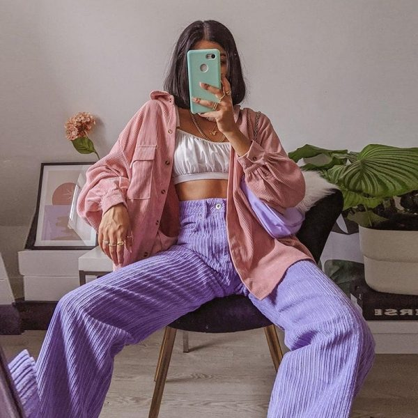 eGirl Corduroy Casual Trousers - My Sweet Outfit - eGirl - SoftGirl Clothes Aesthetic - Goth - Grunge - Vintage Black - Y2k - Fashion - itGirl (1)