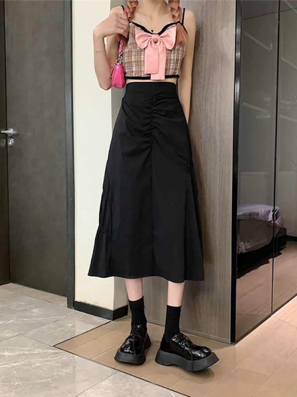 A-line High Waist Long Skirt With Pleats - My Sweet Outfit - eGirl - SoftGirl Clothes Aesthetic - Goth - Grunge - Vintage Black - Y2k - Fashion - Softie 3