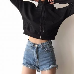 Basic Short Thin Hoodie With A Pointed Hood - My Sweet Outfit - eGirl - SoftGirl Clothes Aesthetic - Goth - Grunge - Vintage Black - Y2k - Fashion - Softie (2)