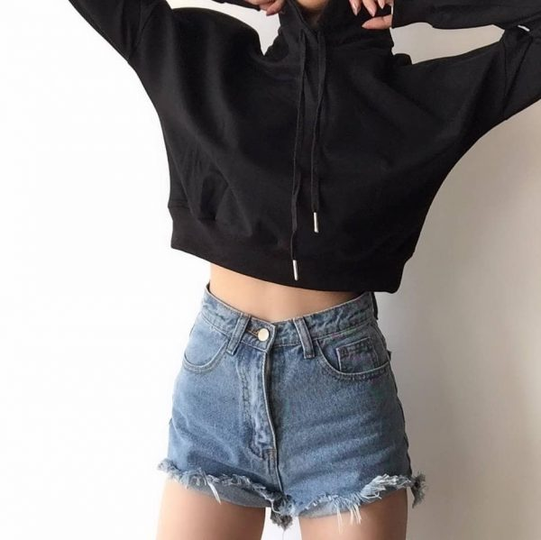 Basic Short Thin Hoodie With A Pointed Hood - My Sweet Outfit - eGirl - SoftGirl Clothes Aesthetic - Goth - Grunge - Vintage Black - Y2k - Fashion - Softie 2