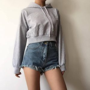 Basic Short Thin Hoodie With A Pointed Hood - My Sweet Outfit - eGirl - SoftGirl Clothes Aesthetic - Goth - Grunge - Vintage Black - Y2k - Fashion - Softie (3)