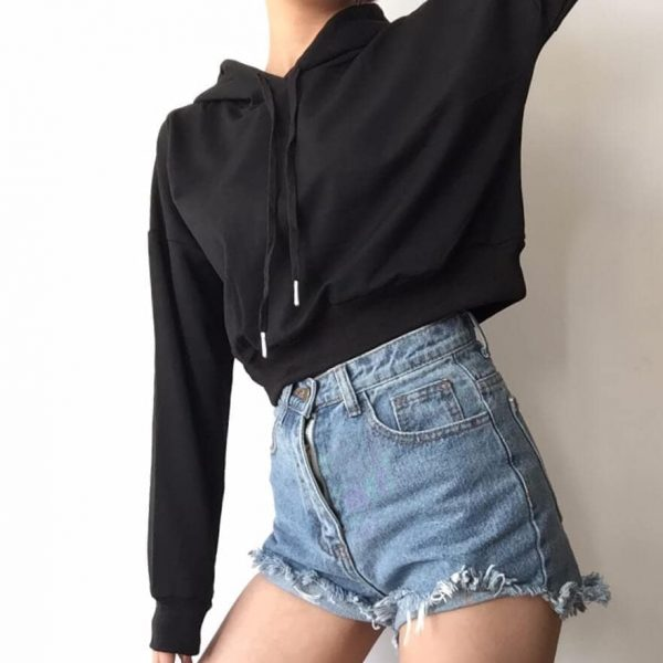 Basic Short Thin Hoodie With A Pointed Hood - My Sweet Outfit - eGirl - SoftGirl Clothes Aesthetic - Goth - Grunge - Vintage Black - Y2k - Fashion - Softie 5