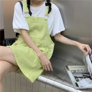 Chest Pocket Suspender Green Rompers Dress - My Sweet Outfit - eGirl - SoftGirl Clothes Aesthetic - Goth - Grunge - Vintage Black - Y2k - Fashion - Softie 3