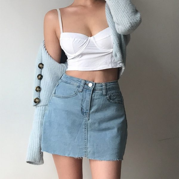 Cropped Frayed Edges Classic Mini Style Skirt - My Sweet Outfit - eGirl - SoftGirl Clothes Aesthetic - Goth - Grunge - Vintage Black - Y2k - Fashion - Softie 3
