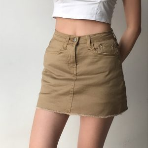 Cropped Frayed Edges Classic Mini Style Skirt - My Sweet Outfit - eGirl - SoftGirl Clothes Aesthetic - Goth - Grunge - Vintage Black - Y2k - Fashion - Softie (4)