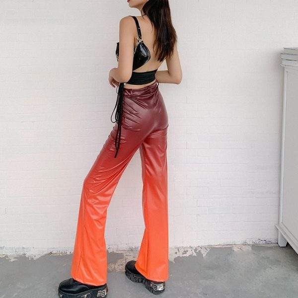 Flame Pattern Flare Pants (1) - My Sweet Outfit - eGirl - SoftGirl Clothes Aesthetic - Goth - Grunge - Vintage Black - Y2k - Fashion - Softie