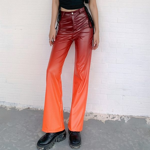 Flame Pattern Flare Pants (3) - My Sweet Outfit - eGirl - SoftGirl Clothes Aesthetic - Goth - Grunge - Vintage Black - Y2k - Fashion - Softie