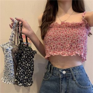 Floral Print Ruffles Top With Ring Straps - My Sweet Outfit - eGirl - SoftGirl Clothes Aesthetic - Goth - Grunge - Vintage Black - Y2k - Fashion - Softie 2