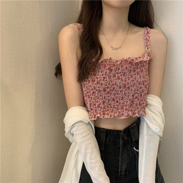 Floral Print Ruffles Top With Ring Straps - My Sweet Outfit - eGirl - SoftGirl Clothes Aesthetic - Goth - Grunge - Vintage Black - Y2k - Fashion - Softie 5