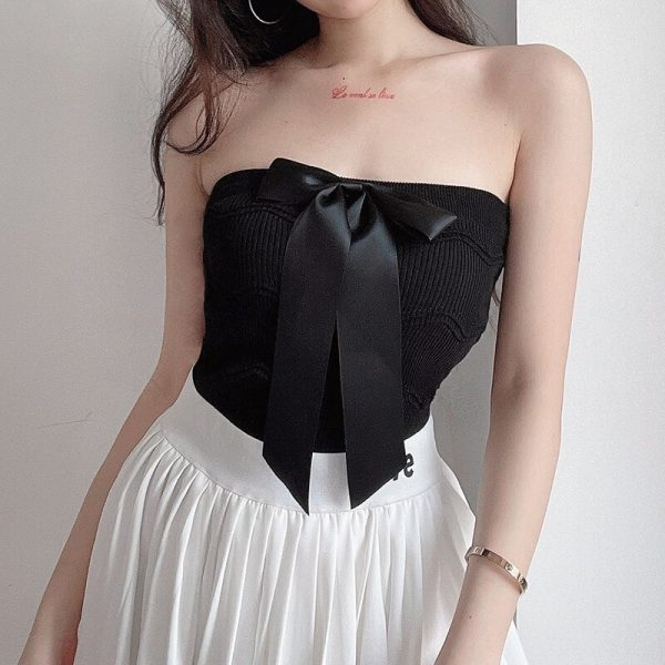 Front Bow Wavy Pattern Open Shoulder Top - My Sweet Outfit - eGirl - SoftGirl Clothes Aesthetic - Goth - Grunge - Vintage Black - Y2k - Fashion - Softie 3