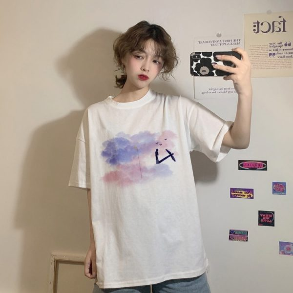 Harajuku Style T-shirt With Moon And Clouds Print - My Sweet Outfit - eGirl - SoftGirl Clothes Aesthetic - Goth - Grunge - Vintage Black - Y2k - Fashion - Softie (2)