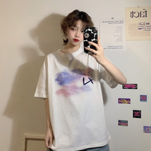 Harajuku Style T-shirt With Moon And Clouds Print - My Sweet Outfit - eGirl - SoftGirl Clothes Aesthetic - Goth - Grunge - Vintage Black - Y2k - Fashion - Softie (3)