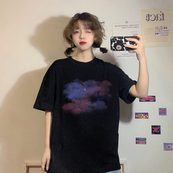 Harajuku Style T-shirt With Moon And Clouds Print - My Sweet Outfit - eGirl - SoftGirl Clothes Aesthetic - Goth - Grunge - Vintage Black - Y2k - Fashion - Softie (4)