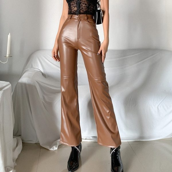 High Waist Latex Pants (1) - My Sweet Outfit - eGirl - SoftGirl Clothes Aesthetic - Goth - Grunge - Vintage Black - Y2k - Fashion - Softie