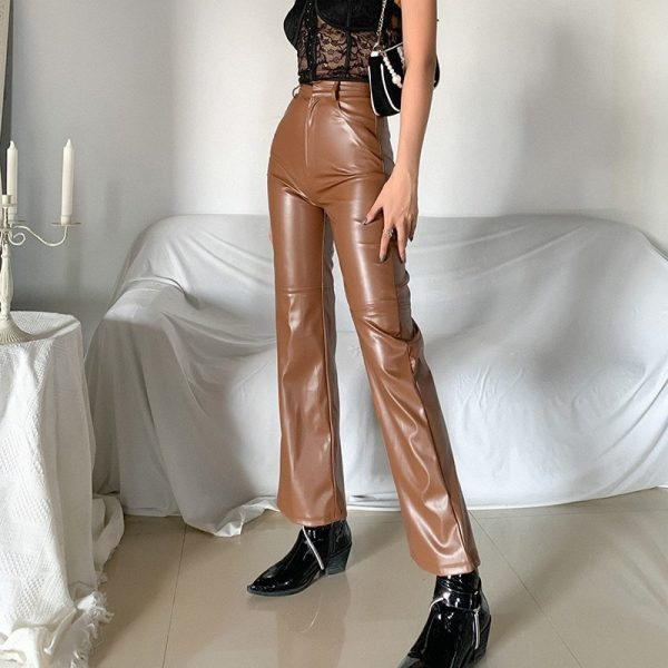 High Waist Latex Pants (2) - My Sweet Outfit - eGirl - SoftGirl Clothes Aesthetic - Goth - Grunge - Vintage Black - Y2k - Fashion - Softie
