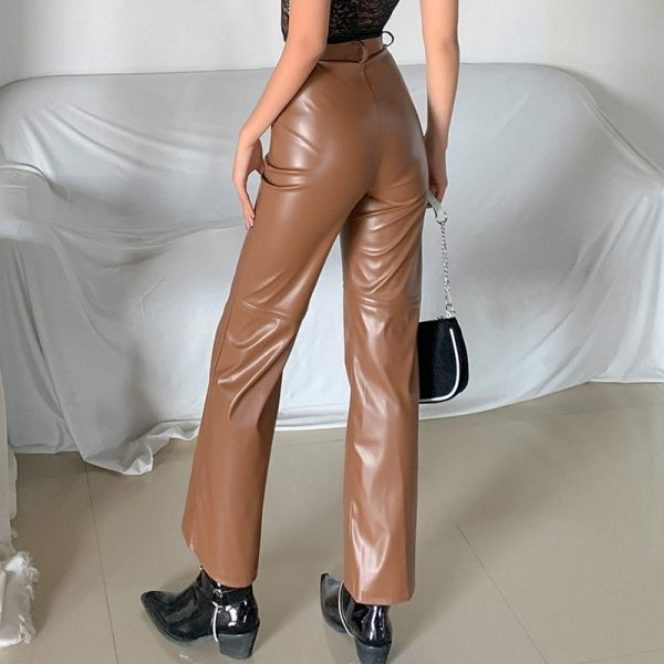 High Waist Latex Pants (3) - My Sweet Outfit - eGirl - SoftGirl Clothes Aesthetic - Goth - Grunge - Vintage Black - Y2k - Fashion - Softie