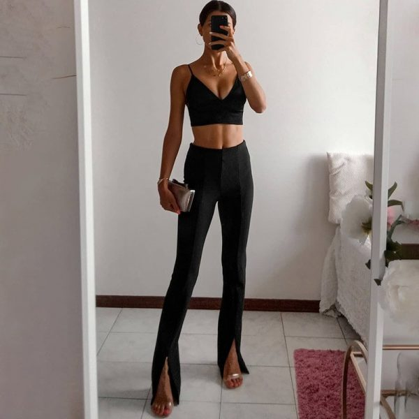 High-Waisted Ankle Slits Trousers 1 - My Sweet Outfit - eGirl - SoftGirl Clothes Aesthetic - Goth - Grunge - Vintage Black - Y2k - Fashion - Softie