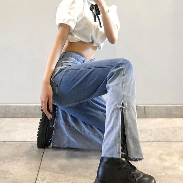 Long Bleached Slit Jeans 2 - My Sweet Outfit - eGirl - SoftGirl Clothes Aesthetic - Goth - Grunge - Vintage Black - Y2k - Fashion - Softie