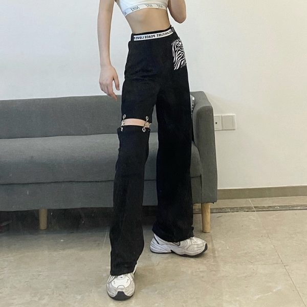 Long Slit Pants With Pocket Print (3) - My Sweet Outfit - eGirl - SoftGirl Clothes Aesthetic - Goth - Grunge - Vintage Black - Y2k - Fashion - itGirl