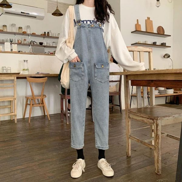 Nine-Pont Distressed Denim Rompers With Pockets - My Sweet Outfit - eGirl - SoftGirl Clothes Aesthetic - Goth - Grunge - Vintage Black - Y2k - Fashion - Softie 1