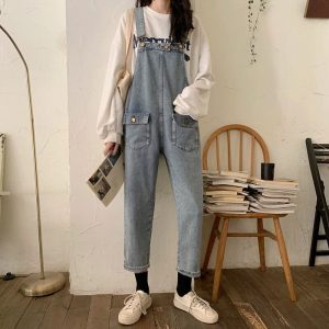 Nine-Pont Distressed Denim Rompers With Pockets - My Sweet Outfit - eGirl - SoftGirl Clothes Aesthetic - Goth - Grunge - Vintage Black - Y2k - Fashion - Softie (2)