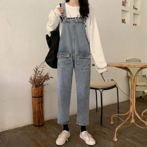 Nine-Pont Distressed Denim Rompers With Pockets - My Sweet Outfit - eGirl - SoftGirl Clothes Aesthetic - Goth - Grunge - Vintage Black - Y2k - Fashion - Softie (3)