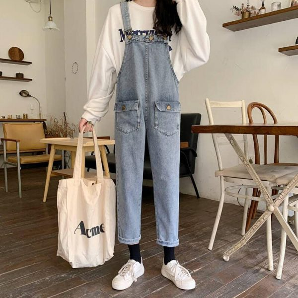 Nine-Pont Distressed Denim Rompers With Pockets - My Sweet Outfit - eGirl - SoftGirl Clothes Aesthetic - Goth - Grunge - Vintage Black - Y2k - Fashion - Softie 4