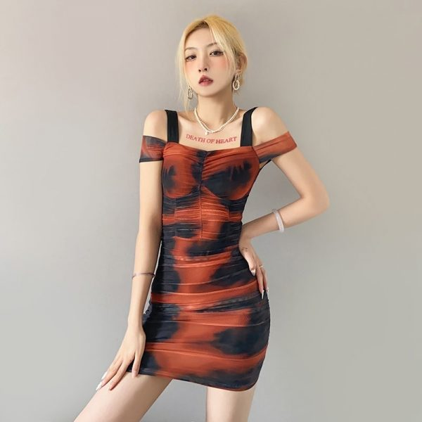 Off-The-Shoulder Bodycon Tie-Dye Dress (1) - My Sweet Outfit - eGirl - SoftGirl Clothes Aesthetic - Goth - Grunge - Vintage Black - Y2k - Fashion - Softie