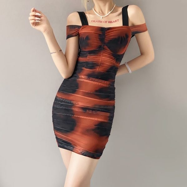 Off-The-Shoulder Bodycon Tie-Dye Dress (2) - My Sweet Outfit - eGirl - SoftGirl Clothes Aesthetic - Goth - Grunge - Vintage Black - Y2k - Fashion - Softie