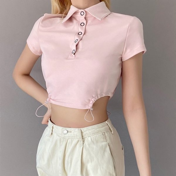 Pink Short Polo T-shirt 1 - My Sweet Outfit - eGirl - SoftGirl Clothes Aesthetic - Goth - Grunge - Vintage Black - Y2k - Fashion - Softie