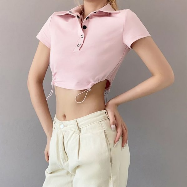Pink Short Polo T-shirt 2 - My Sweet Outfit - eGirl - SoftGirl Clothes Aesthetic - Goth - Grunge - Vintage Black - Y2k - Fashion - Softie