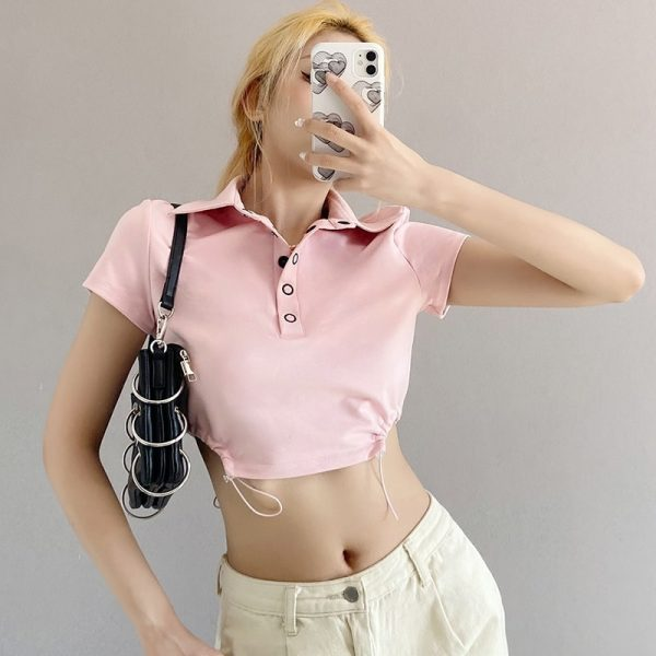 Pink Short Polo T-shirt 3 - My Sweet Outfit - eGirl - SoftGirl Clothes Aesthetic - Goth - Grunge - Vintage Black - Y2k - Fashion - Softie