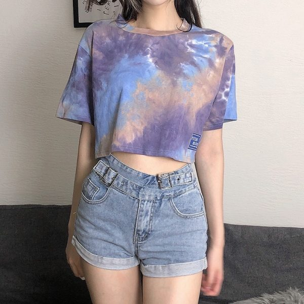 Psycho And Cute Umbilical Short Tie-Dye Top - My Sweet Outfit - eGirl - SoftGirl Clothes Aesthetic - Goth - Grunge - Vintage Black - Y2k - Fashion - Softie (2)