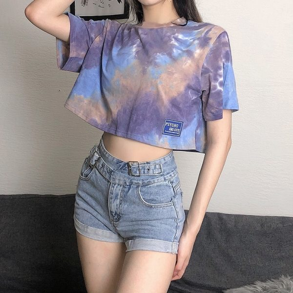 Psycho And Cute Umbilical Short Tie-Dye Top - My Sweet Outfit - eGirl - SoftGirl Clothes Aesthetic - Goth - Grunge - Vintage Black - Y2k - Fashion - Softie (3)