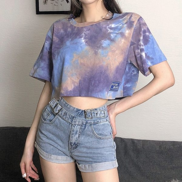 Psycho And Cute Umbilical Short Tie-Dye Top - My Sweet Outfit - eGirl - SoftGirl Clothes Aesthetic - Goth - Grunge - Vintage Black - Y2k - Fashion - Softie (4)