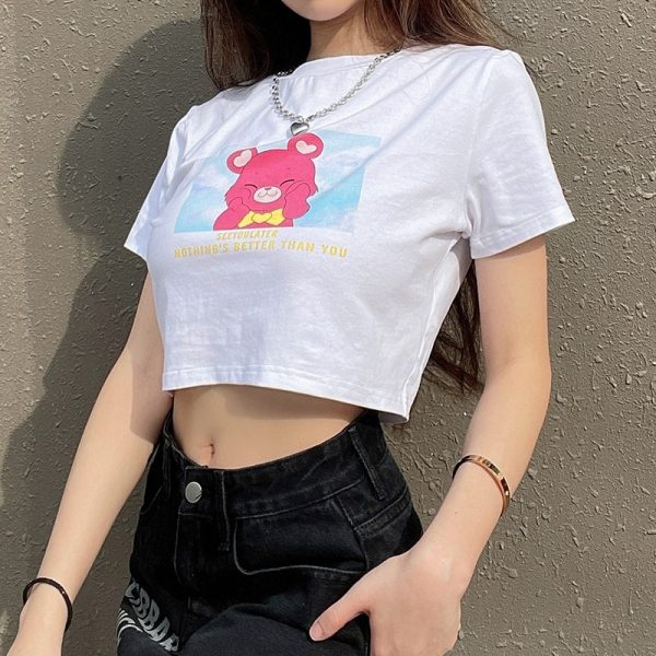 See You Later White Slim T-shirt - My Sweet Outfit - eGirl - SoftGirl Clothes Aesthetic - Goth - Grunge - Vintage Black - Y2k - Fashion - Softie (4)