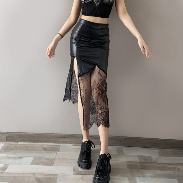 Split Faux Leather Skirt (4) - My Sweet Outfit - eGirl - SoftGirl Clothes Aesthetic - Goth - Grunge - Vintage Black - Y2k - Fashion - Softie