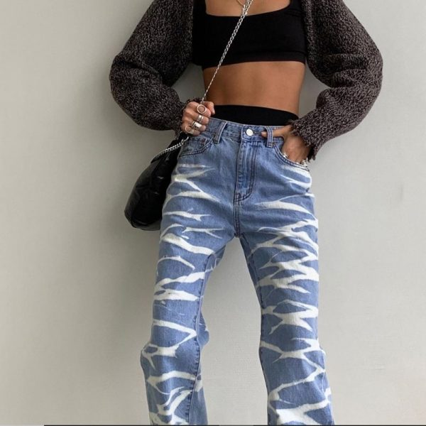 Striped Loose Tie-Dye Jeans (4) - My Sweet Outfit - eGirl - SoftGirl Clothes Aesthetic - Goth - Grunge - Vintage Black - Y2k - Fashion - Softie