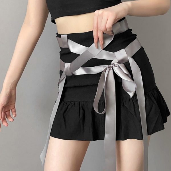 Summer Short Skirt With Ribbons And Bow 1 - My Sweet Outfit - eGirl - SoftGirl Clothes Aesthetic - Goth - Grunge - Vintage Black - Y2k - Fashion - Softie