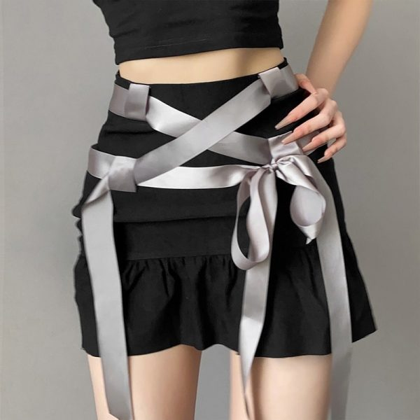 Summer Short Skirt With Ribbons And Bow 2 - My Sweet Outfit - eGirl - SoftGirl Clothes Aesthetic - Goth - Grunge - Vintage Black - Y2k - Fashion - Softie