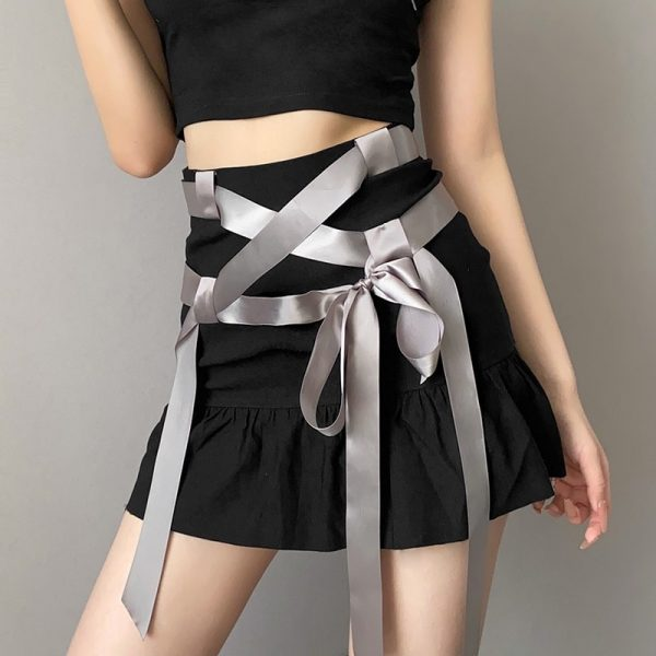 Summer Short Skirt With Ribbons And Bow 3 - My Sweet Outfit - eGirl - SoftGirl Clothes Aesthetic - Goth - Grunge - Vintage Black - Y2k - Fashion - Softie