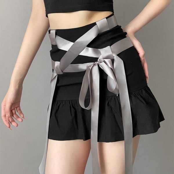 Summer Short Skirt With Ribbons And Bow 4 - My Sweet Outfit - eGirl - SoftGirl Clothes Aesthetic - Goth - Grunge - Vintage Black - Y2k - Fashion - Softie