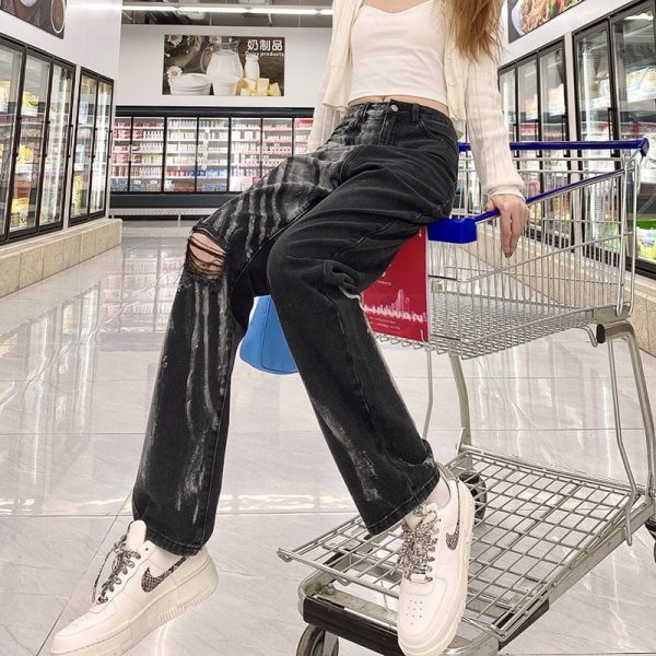Two-Tone Tie-Dye Ripped Jeans 1 - My Sweet Outfit - eGirl - SoftGirl Clothes Aesthetic - Goth - Grunge - Vintage Black - Y2k - Fashion - Softie