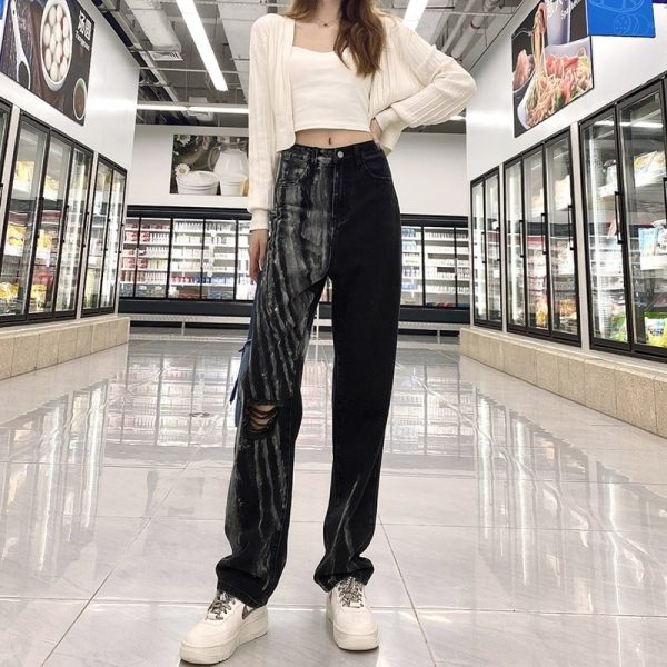 Two-Tone Tie-Dye Ripped Jeans 3 - My Sweet Outfit - eGirl - SoftGirl Clothes Aesthetic - Goth - Grunge - Vintage Black - Y2k - Fashion - Softie